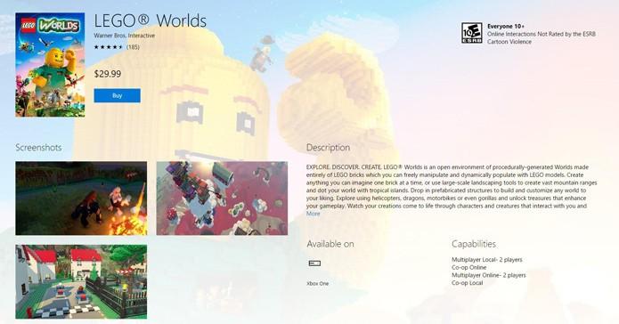 Página de LEGO Worlds na loja da Xbox LIVE (Foto: Reprodução/André Mello)