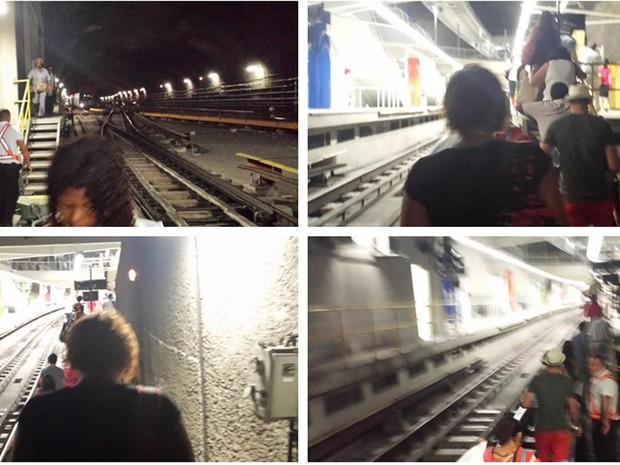 Passageiros tiveram de caminhar sobre os trilhos para chegar à plataforma (Foto: Cosmo França / Divulgação)