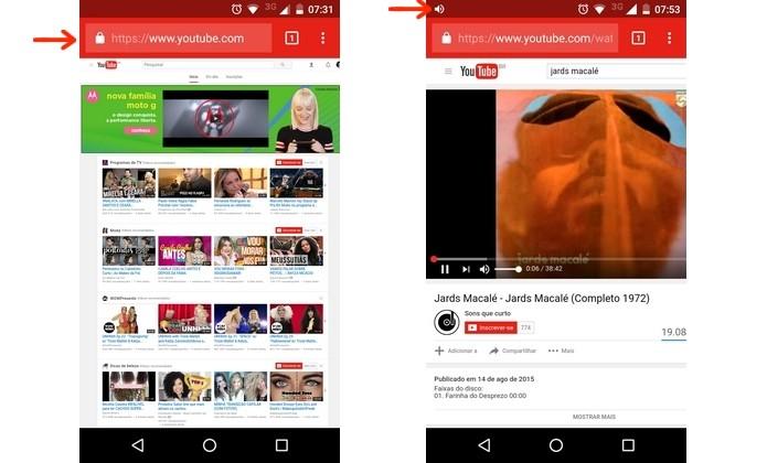 Execução de música no YouTube a partir do aplicativo do Chrome (Foto: Reprodução/Raquel Freire)