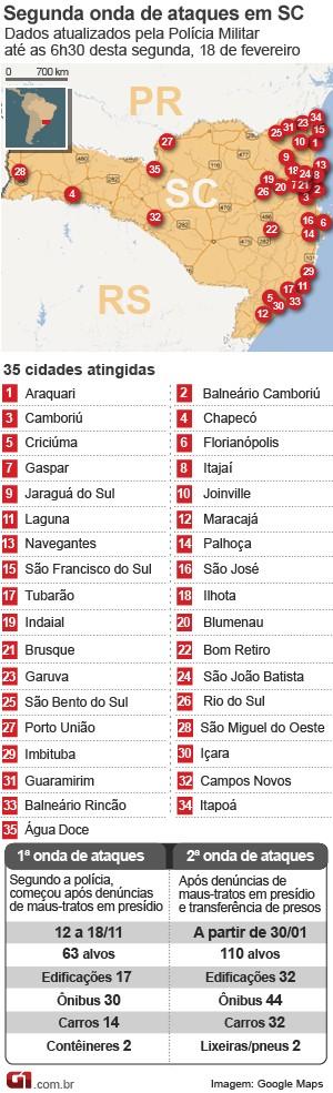 mapa de ataques em santa catarina 18 de fevereiro (Foto: Arte/G1)
