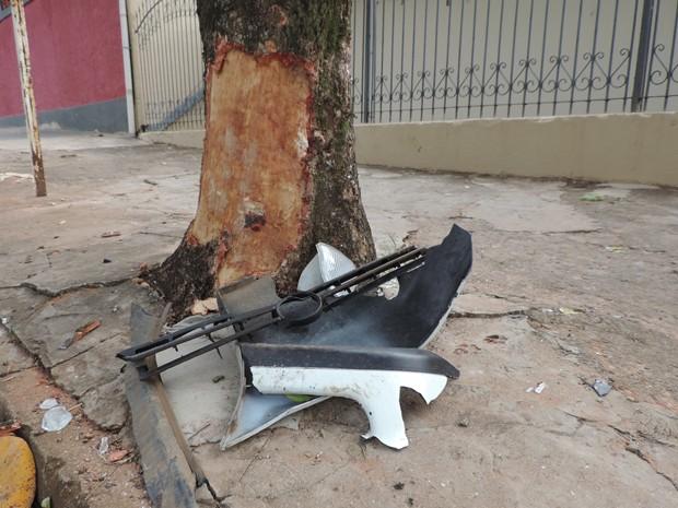 Motorista bateu carro contra árvore no Jardim Planalto, em Presidente Prudente; fiança de R$ 800 não foi paga por autônomo (Foto: Carolina Mescoloti/G1)