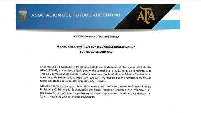 AFA resolução sanções greve jogadores Argentino (Foto: Reprodução/AFA)