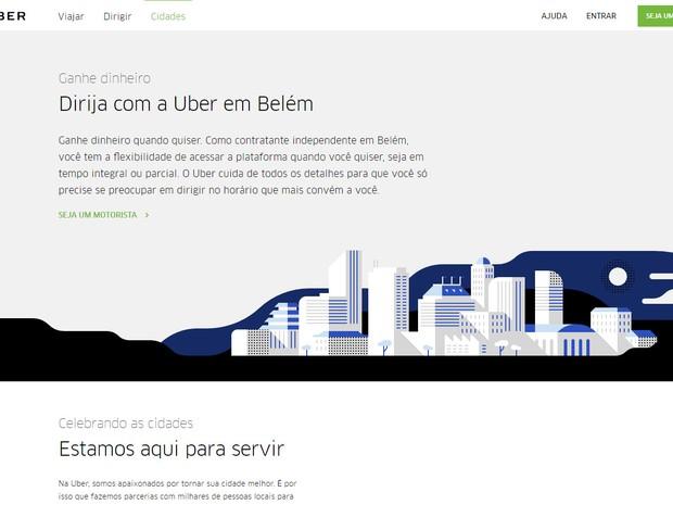Anúncio na página do Uber recruta motoristas em Belém (Foto: Reprodução)
