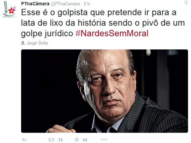 Bancada do PT na Câmara publica post no Twitter em que chama Augusto Nardes de 'golpista' (Foto: Reprodução/Twitter)