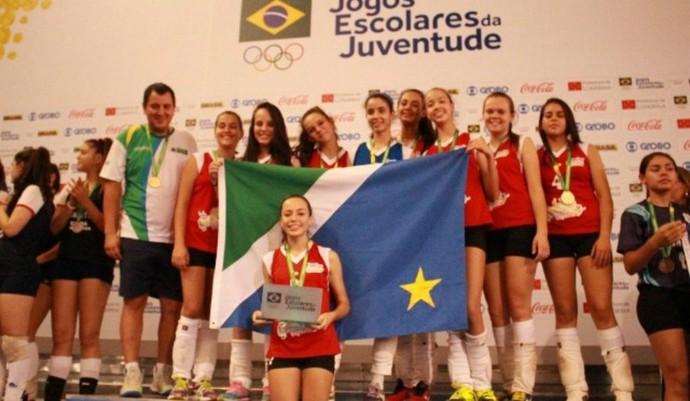 Time feminino de vôlei, campeão dos Jogos Escolares da Juventude 2015 - 3ª divisão (Foto: Divulgação/Fundesporte)