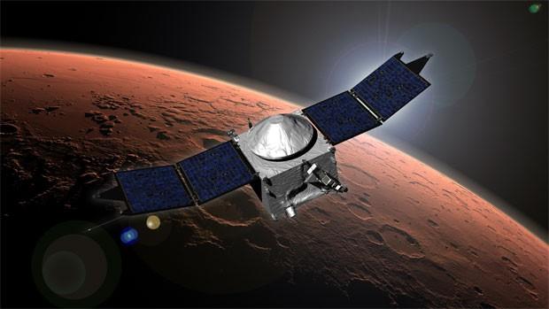 Concepção artística mostra a sonda Marven já na órbita do planeta Marte (Foto: Divulgação/Nasa)