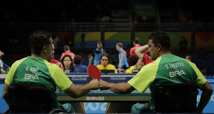 Welder Knaf e David Almeida Tênis de Mesa Brasil x Alemanha (Foto: Alexandre Urch/MPIX/CPB)
