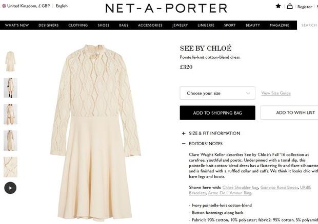 Vestido de Kate Middleton está à venda (Foto: Reprodução)