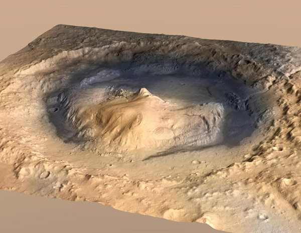 Animação mostra como seria o interior da Cratera Gale, local por onde o robô Curiosity (Foto: Reuters/Nasa)