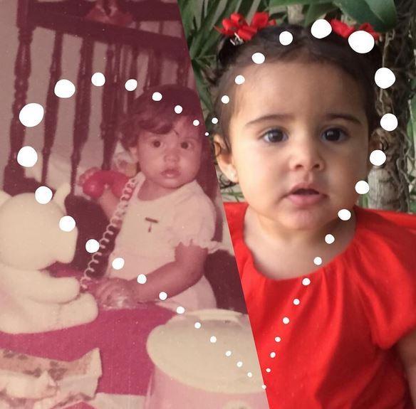 Nívea Stelmann compara foto dela e da filha com um ano de idade (Foto: Reprodução/Instagram)