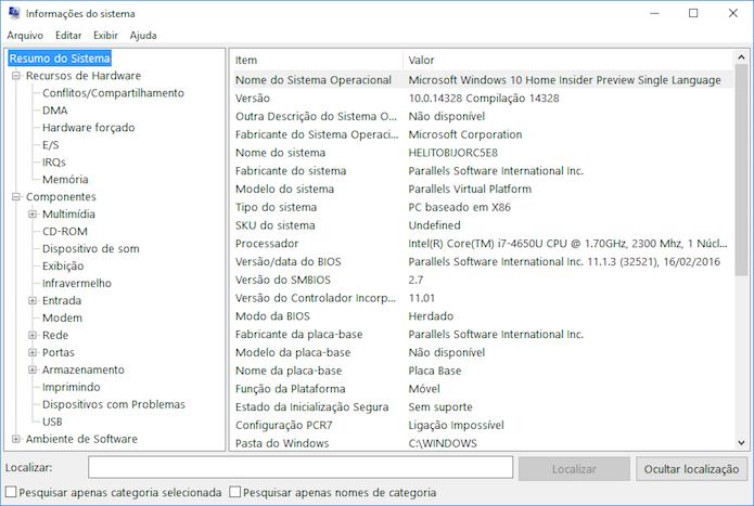 Verificando informações sobre o hardware do PC (Foto: Reprodução/Helito Bijora)