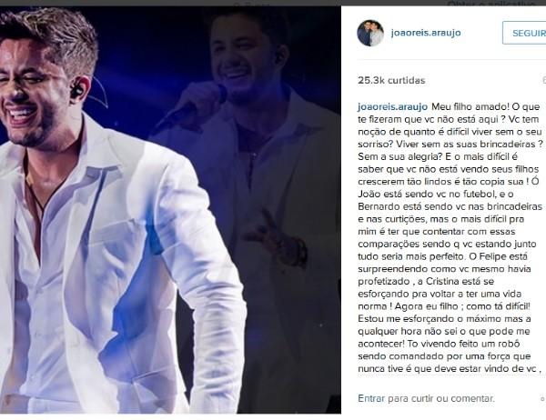 Pai de Cristiano Araújo escreve texto emocionado nas redes sociais (Foto: Reprodução/Instagram)