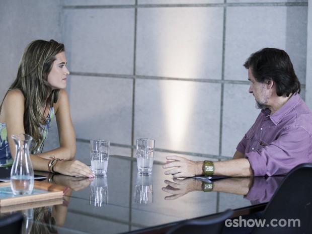 Lili quer saber se LC ainda faz negócios com Kléber (Foto: Inácio Moraes/TV Globo)