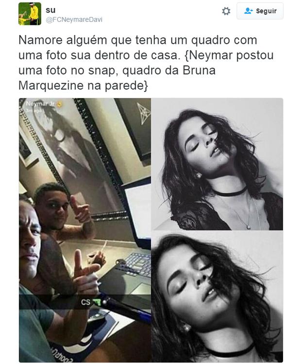 Bruna Marquezine aparece em quadro de Neymar (Foto: Reprodução/Twitter)