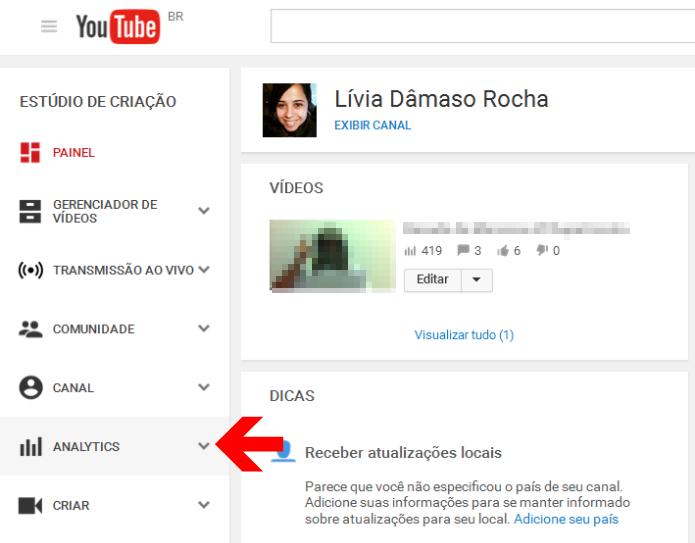 Acessando o Analytics do seu canal do YouTube (Foto: Reprodução/Lívia Dâmaso)