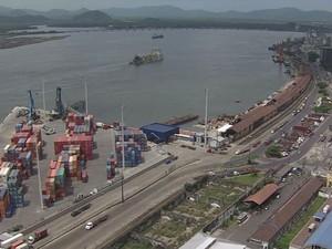 Terminais portuários no Porto de Santos (Foto: Reprodução/TV Tribuna)