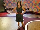 Fátima Bernardes opta por vestido de babados para conduzir o Encontro