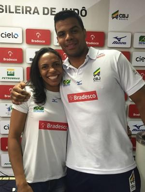 Érika Miranda e Luciano Corrêa são amigos, brasilienses e defendem o Minas Tênis Clube no judô (Foto: Gabriel Fricke)
