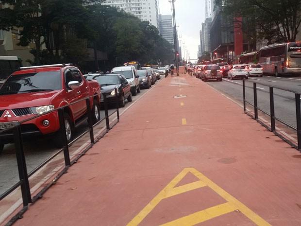 Ciclovia da Avenida paulista no snetido Consolação (Foto: Tatiana Santiago/G1)