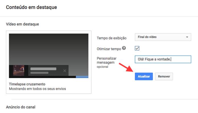 Opção para salvar um vídeo em destaque em um canal do YouTube (Foto: Reprodução/Marvin Costa)