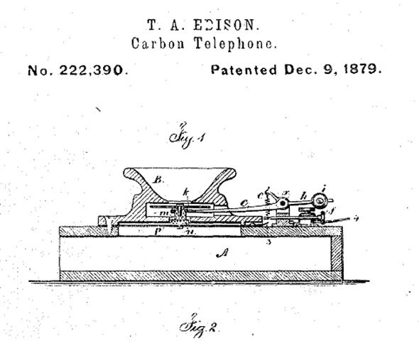 Microfone de carbono Thomas Edison (Foto: Google Patents)