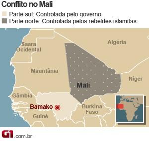mapa crise mali (Foto: Arte/G1)