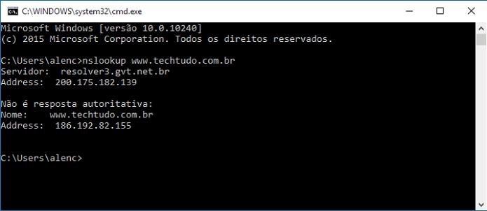 Checando o endereço IP do TechTudo  (Foto: Reprodução/Felipe Alencar)