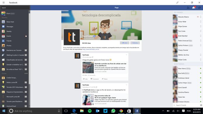 Facebook para Windows 10 tem acesso a maior parte da versão Web da rede (Foto: Divulgação/Windows Phone Store)
