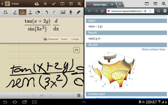 Além de reconhecer funções matemáticas, o Note 10.1 ainda abre outra janela para mostrar o resultado (Foto: TechTudo)