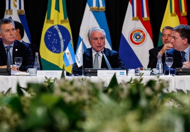 Michel Temer discursa durante Sessão Plenária Mercosul, estados associados, México e convidados especiais (Foto: Alan Santos/PR)