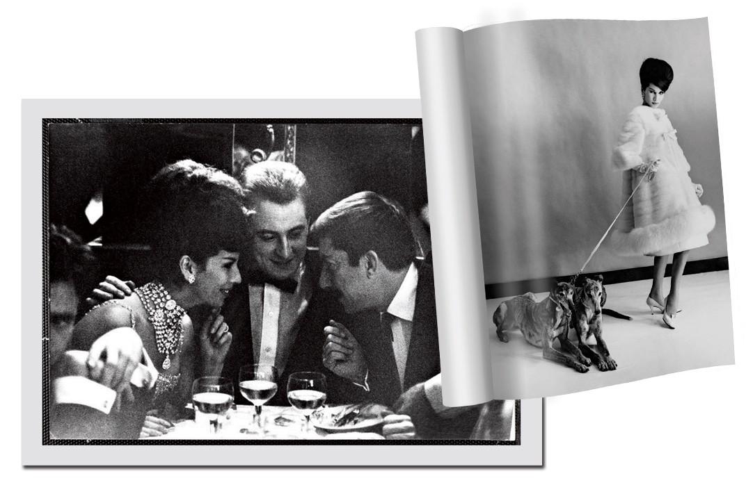 Victoire em foto para a Vogue francesa de abril de 1960. Ao lado, a modelo com Pierre Bergé e Roger Thérond no restaurante Coupole, em 1959 (Foto: Mark Shaw e Divulgação)
