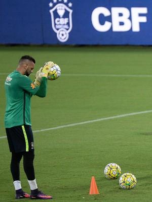 Weverton, Alisson e Muralha treino seleção brasileira (Foto: Pedro Martins/MoWa Press)