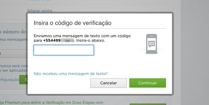 Entre com o código recebido no SMS (Foto: Reprodução/Helito Bijora)