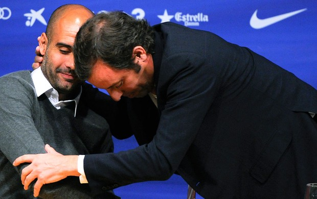 pep guardiola sandro rosell barcelona coletiva (Foto: Agência Getty Images)