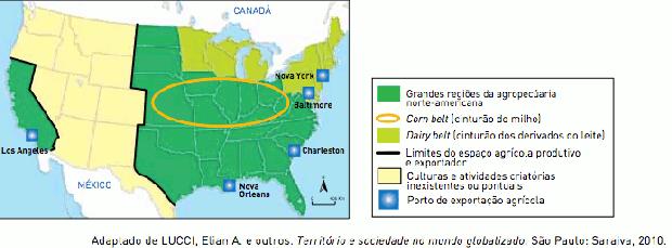 Mapa sobre agropecuária nos EUA (Foto: Reprodução/UERJ)