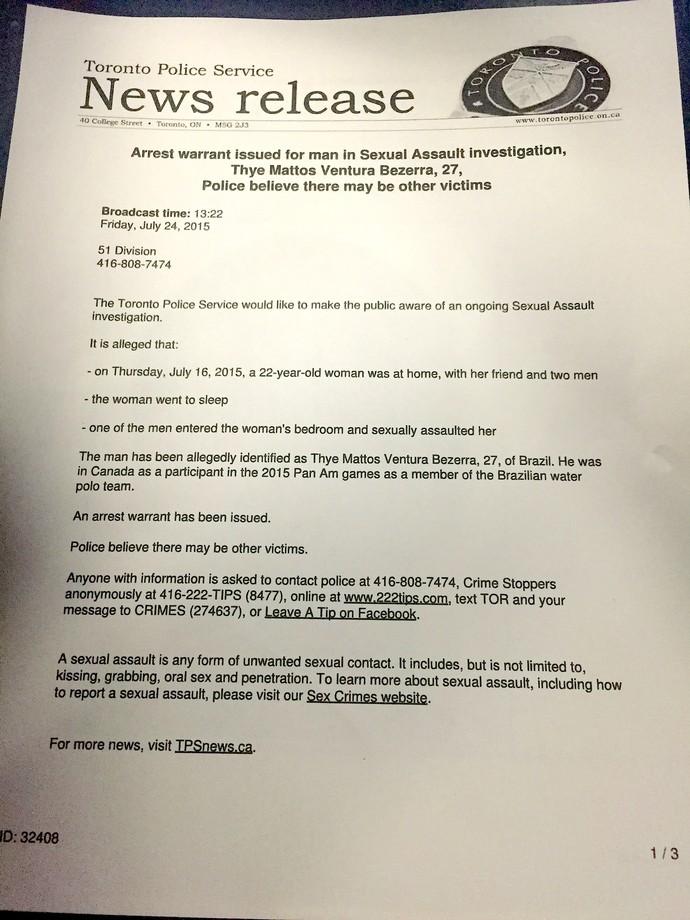 Thye Mattos Polo Aquatico Pan acusação sexual polícia Toronto (Foto: reprodução)