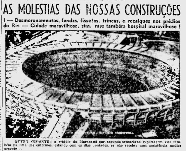 """Reportagem do """"Jornal do Brasil"""" denunciava problemas de acabamento no Maracanã (Foto: Reprodução """"Jornal do Brasil"""")"""