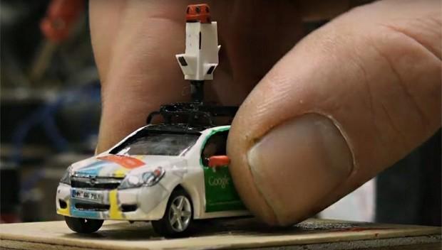 Carro em miniatura do Google Street View (Foto: Reprodução/YouTube)