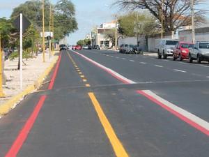 Faixa será usada para ônibus e como ciclofaixa em horários determinados (Foto: Juliane Peixinho / G1)
