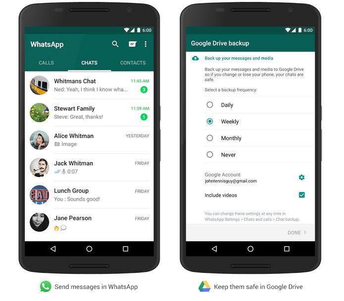Conteúdo do WhatsApp pdoe ser salvo no Google Drive (Foto: Reprodução/Google)