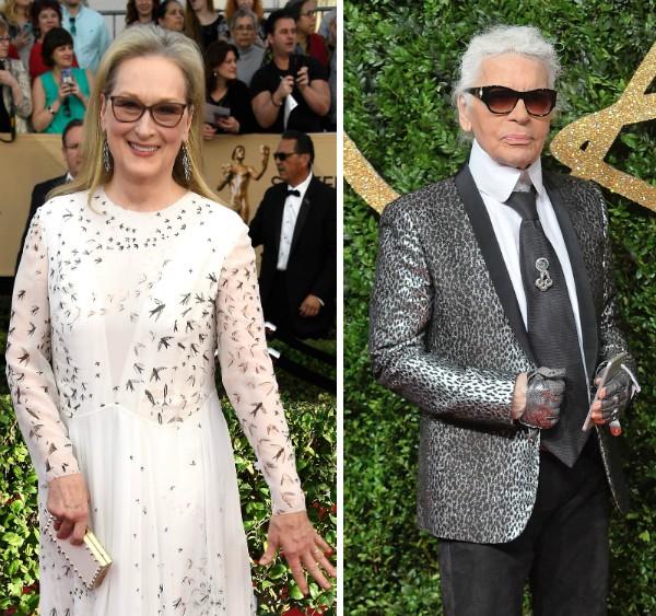 A atriz Meryl Streep e o estilista Karl Lagerfeld (Foto: Getty Images)