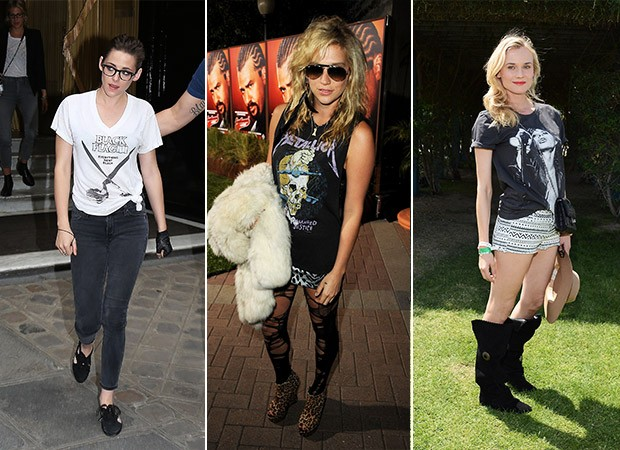 Camisetas de Banda - Kristen Stewart, Kesha, Diane Kruger (Foto: Agência Getty Images)