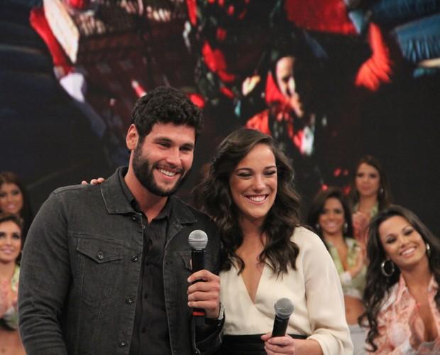 Adriana Birolli e Dudu Azevedo realizaram o Desafio do Faustão (Foto: Domingão do Faustão / TV Globo)