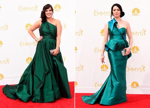 Verde-esmeralda em vestidos de um ombro s causa coincidncia fashion entre Allison Tolman e Laura Prepon.  (Foto: Getty Images)