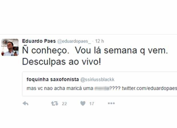 Prefeito Eduardo Paes disse no Twitter que vai visitar Maricá para pedir desculpas (Foto: Reprodução/Twitter)