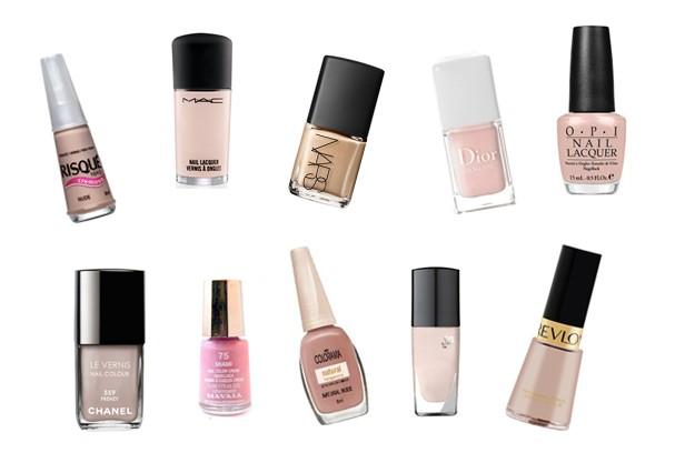 Nude, da Risqué (R$ 2,49); Faint of Heart, da MAC (R$ 59); Versailles, da Nars (R$ 65); Diorlisse 500, da Dior (R$ 76); Makes Men Blush, da OPI (R$ 38); 559 Frenzy, da Chanel (R$ 89); Miami, da Mavala (R$ 25); Natural Nude, da Colorama (R$ 2,59); Pure Narcisse, da Lancôme (R$ 77); Pink Chiffon, da Revlon (R$ 19) (Foto: Divulgação)