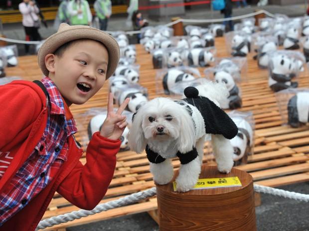 Um cachorro foi fantasiado de urso panda durante exposição chamada Pandas on Tour emTaipei (Foto: AFP)