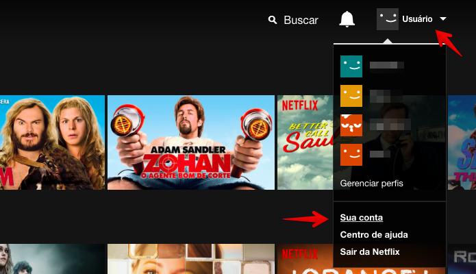 Acesse as configurações do Netflix (Foto: Reprodução/Helito Bijora)