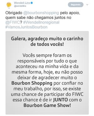 Wendell Lira; Bourbon Game Show (Foto: Reprodução / Twitter)