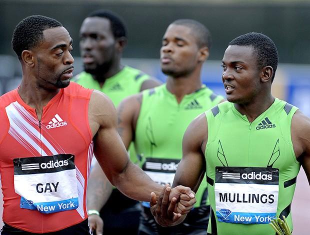 Tyson Gay e Steve MullingsDiamond League, em Nova York (Foto: Agência EFE)